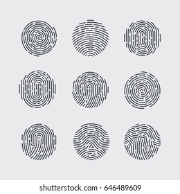 Round Fingerprint Patterns for Identity Person Security ID on Gray Background for Design