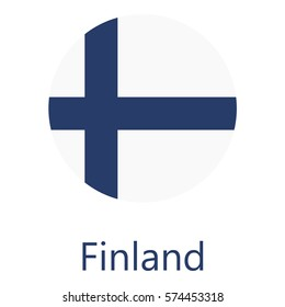 Round finland flag vector icon isolated, finland flag button