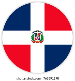 round flag of Dominican Republic. circle flag.