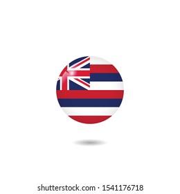 round Flag of Hawaii, Hawaii flag template design. Vector Eps 10