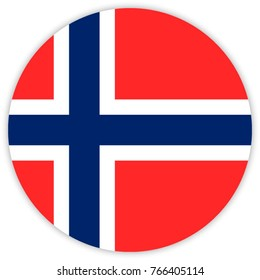 round flag of Norway. circle flag.