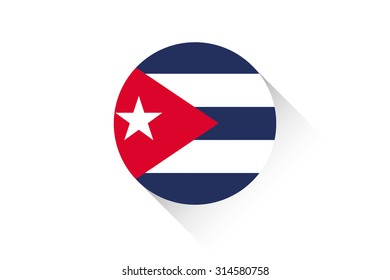 A Round flag with shadow of Cuba