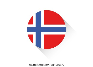 A Round flag with shadow of Norway