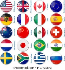 Round flags Popular. Vector illustration. 3 layers. Shadows, flat flag you can use it separately, button.