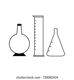 round flask,cylinder glass and conical flask vector