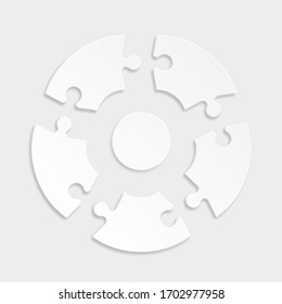 Round flat puzzle presentation. Abstract white 5 pieces puzzle circle infographic. Vector background