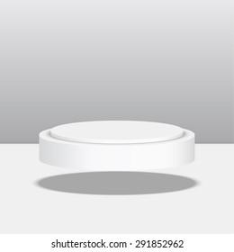 Round floating pedestal for display. Platform for design. Realistic 3D empty podium