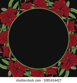 Round floral border frame. Can be used for decoration and design photo frame, menu, card, scrapbook, album. Vector Illustration.