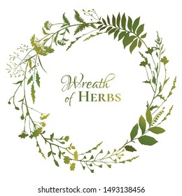 Round floral frame with green silhouettes of meadow herbs on white background. Herbal wreath. Decorative wreath. Wild grass. Vector illustration.