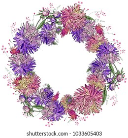 Round floral frame made of different asters. Round garland with space for your text for season design