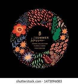 Round floral frame made of folk flowers