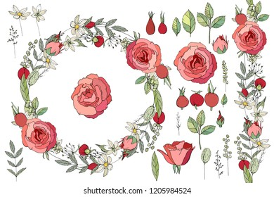 Round floral garland with rose flowers. Decoration for wedding and romantic design