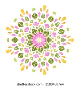 Round floral mandala on white isolated background. Vector boho mandala in green and pink colors. Mandala with floral patterns. Yoga template