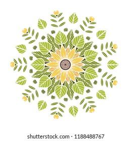 Round floral mandala. Vector boho mandala in green and yellow colors. Mandala with floral patterns. Yoga template