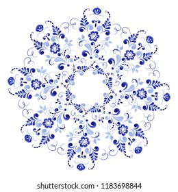 Round floral wreath of blue color on a white background made in the technique of folk Russian art Gzhel