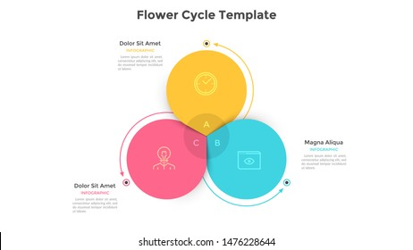 Round flower diagram with 3 colorful petals. Concept of three steps or stages of business cyclical process. Flat infographic design template. Vector illustration for presentation, analytics report.