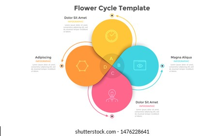 Round flower diagram with 4 colorful petals. Concept of four steps or stages of business cyclical process. Flat infographic design template. Vector illustration for presentation, analytics report.