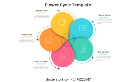 Round flower diagram with 5 colorful petals. Concept of five steps or stages of business cyclical process. Flat infographic design template. Vector illustration for presentation, analytics report.