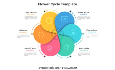 Round flower diagram with 6 colorful petals. Concept of six steps or stages of business cyclical process. Flat infographic design template. Vector illustration for presentation, analytics report.