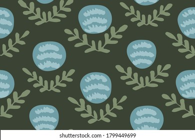 Round flower garden seamless vector pattern. Bulb shaped flower with leaves forming a V in blue and green palette on dark background.Great for home decor, fabric, wallpaper, stationery, design project