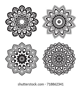 Round flower mandala ornament. For decoration, coloring book page, textile or tattoo