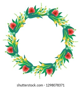 Round flower wreath with bright flowers and leaves. Greeting card and Ecard vector banner invitation