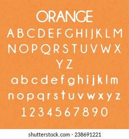 Round font type on orange background. vector illustration