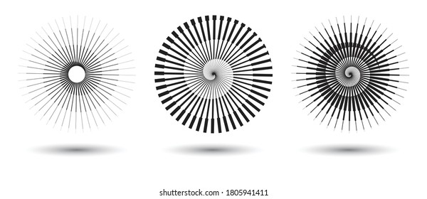 round form with halftone transitions. stripe lines in circle as logo or icon
