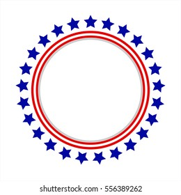 Round frame American flag stylized