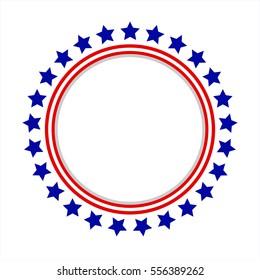 Round frame American flag stylized