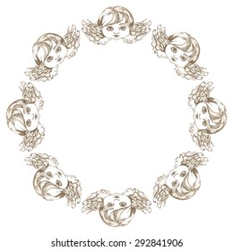 Round frame with angels