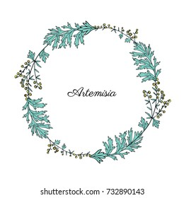 Round frame with Artemisia vulgaris, wreath common wormwood hand drawn vector illustration isolated on white, Also called absinthium, absinthe wormwood, sagebrush herb, mugwort plants for design menu