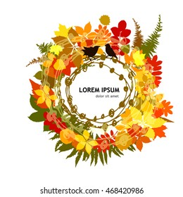 Round frame with autumn leaves. Vector