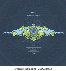 Round frame with bacchus head in the center of grapes and ribbons at the both sides . Wine banner on blue background