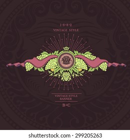 Round frame with bacchus head in the centre of grapes and ribbons at the both sides . Wine banner on violet background