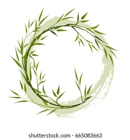 Round frame with bamboo branches, grunge element. vector illustration