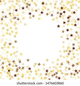 Round Frame of Big Star Confetti. Wreath. Golden Christmas Background. Trendy Decoration for Holiday Cover Print Card. Realistic Glitter. Isolated Christmas Background. Vector.