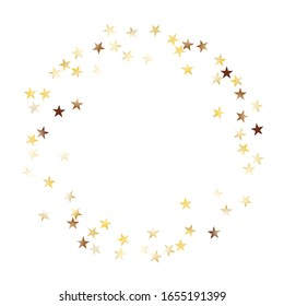 Round Frame of Big Star Confetti. Wreath. Golden Party Background. Trendy Decoration for Holiday Wallpaper Print Banner. Realistic Glitter. Isolated Party Background. Vector.