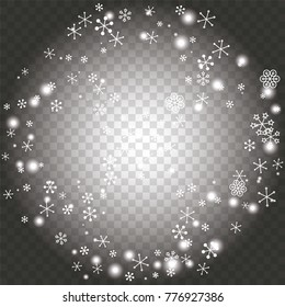 Round frame or border Christmas background with random scatter falling white snowflakes and light blurred dots on a transparent background.