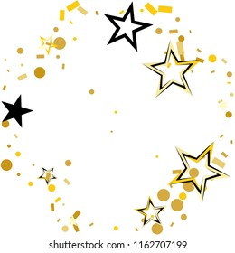 Round frame or border Christmas gold and black stars confetti falling, isolated on white. Magic shining flying stars and glitter dots sparkle cosmic backdrop