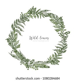 Round frame, border or circular wreath made of beautiful ferns, wild herbs or green herbaceous plants isolated on white background. Herbal backdrop or border. Elegant realistic vector illustration