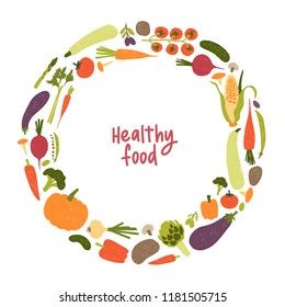 Round frame or border consisted of various vegetables or harvested crops isolated on white background. Healthy fresh food, vegan and vegetarian wholesome products. Decorative flat vector illustration.