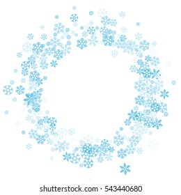 Round frame or border of scatter blue shades snowflakes on white background. Design element for festive banner, birthday, greeting card, postcard, Christmas or wedding invitation. Vector illustration.