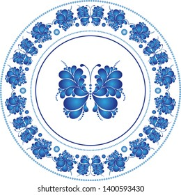 Round frame with butterfly n russian style Gzhel on a transparent background. Vector image. Eps 8
