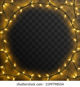 Round frame of Christmas lights. Garlands in circle.