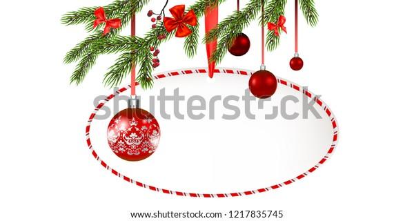 Round frame Christmas tree banner