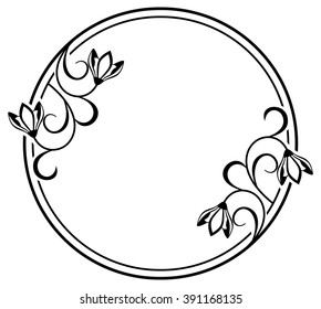 Round frame with contour flowers