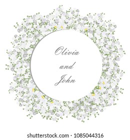 Round frame with daisy and gypsophila flowers for wedding invitation card design, vector illustration.