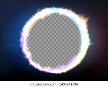 Round frame flame on a transparent background. Circle burning plasma or neon. Vector illustration.