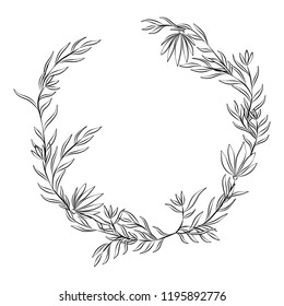 Round frame from flowers and leaves. Monochrome Vector illustration.